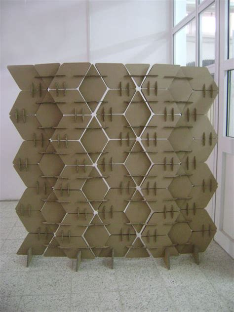 picture of diy cardboard room divider with a texture and