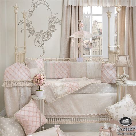 3pc Baby Girl Pink Grey Shabby Chic Designer Crib Nursery Shabby Chic Crib Bedding Sets