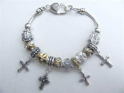 fleur de lis charms for jewelry pandora inspired cross fleur de lis charm bead bracelet