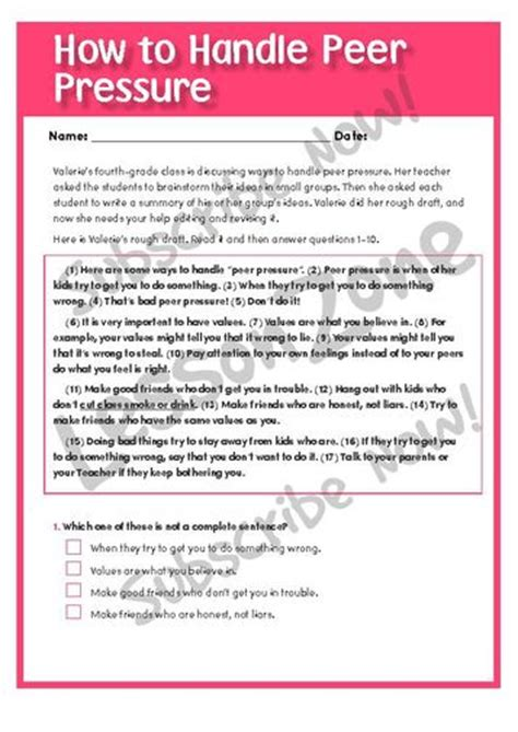 Worksheets Peer Pressure Worksheets Opossumsoft Lesson Zone Lessonzone Au
