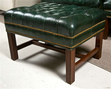 green leather bench 1950 s green leather tuffted wing chairs and bench at 1stdibs