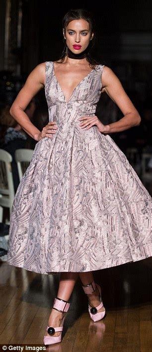Dress Irina Baby Pink irina shayk storms the runway at giles fashion week