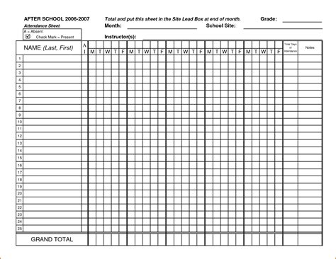 4 printable attendance sheet authorizationletters org