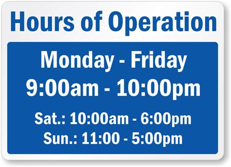 hours sign template free business hours signs