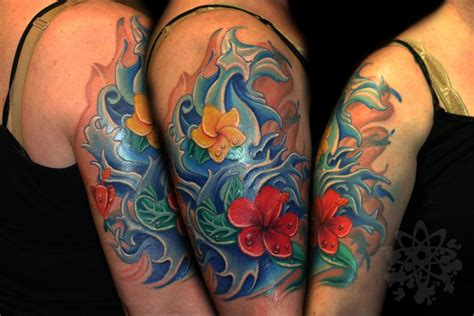 aquatic tattoos water and hibiscus and plumeria flowers by jose guevara