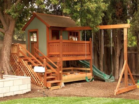 wooden playhouse with swing luxury outdoor playhouse with swing and slide