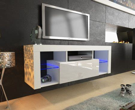 cm white matt gloss modern tv unit  led lights