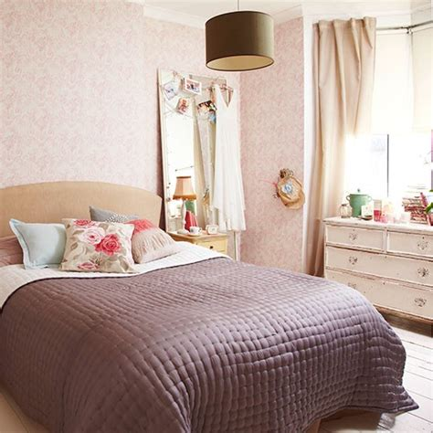 shabby chic bedroom with pink floral wallpaper country bedroom design ideas housetohome co uk