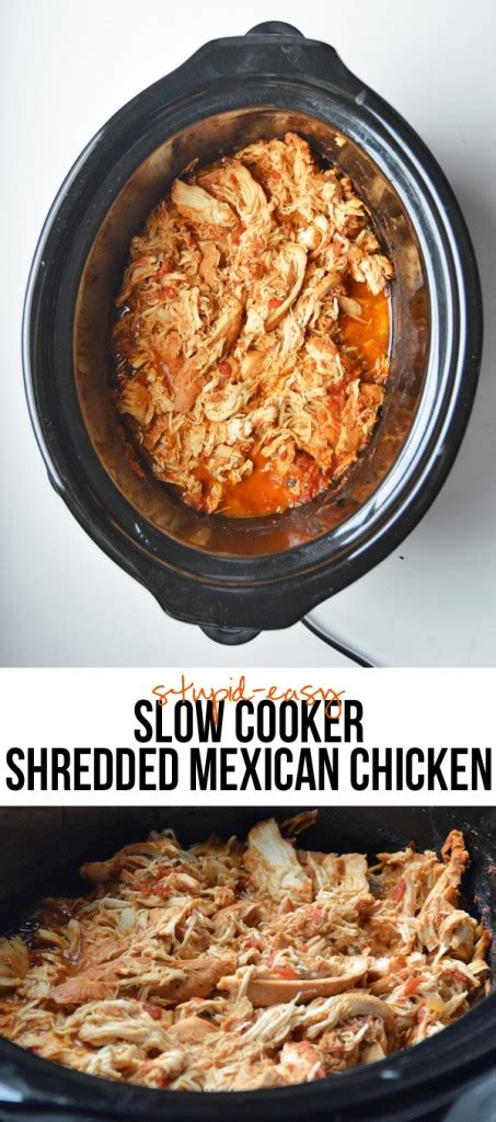 stupid easy slow cooker shredded mexican chicken pumps