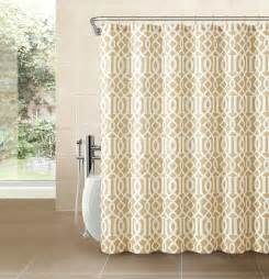 gold taupe fabric shower curtain white imperial trellis