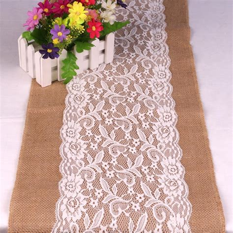 burlap table runners with lace for sale wholesale best sale lace burlap table runner 108x30cm lace