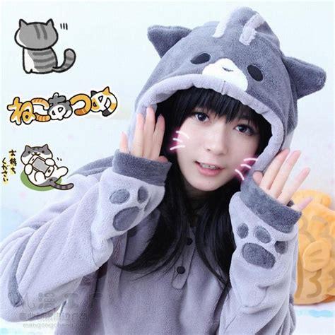 Costume Neko Cat anime neko atsume hoodies manzokusan fleece coat cat