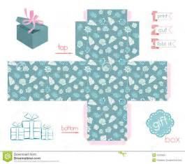 printable box template with lid printable gift box various shells stock vector image