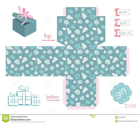 printable box template with lid printable gift box various shells stock vector image