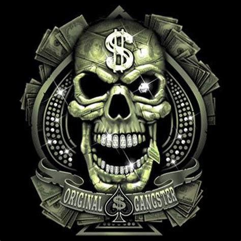 gangster skull tattoos t shirt custom design original gangster skull dollar sign