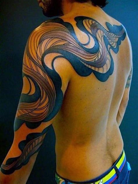 3d tribal sleeve tattoos big tribal style colored mystic ornament on sleeve