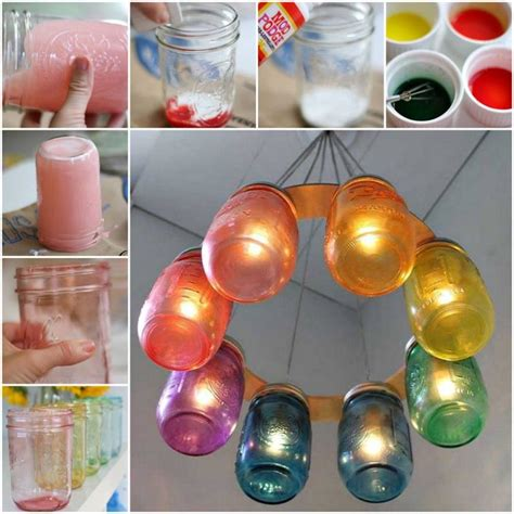 how to make a chandelier with jars how to make a rainbow jar chandelier pictures