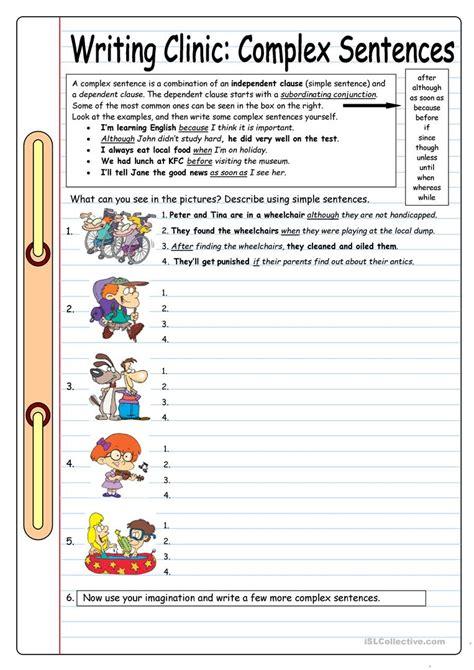 important complex sentences worksheet goodsnyc