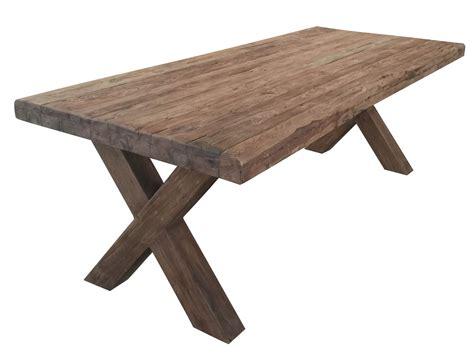 teak tafel dikke poten dikke teak tafel met stalen kruispoot