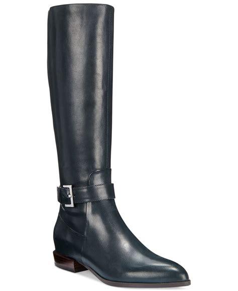 nine west boots nine west diablo wide calf boots in blue navy