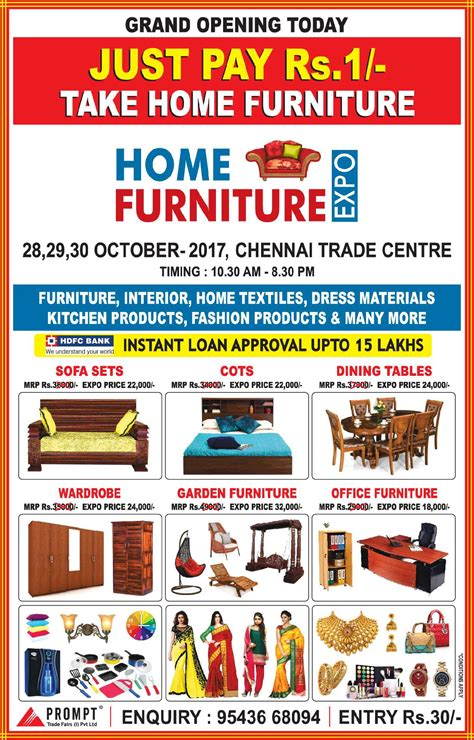 home furniture expo just pay rupees 1 take home furniture