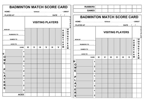 badminton match score card template in word and pdf formats