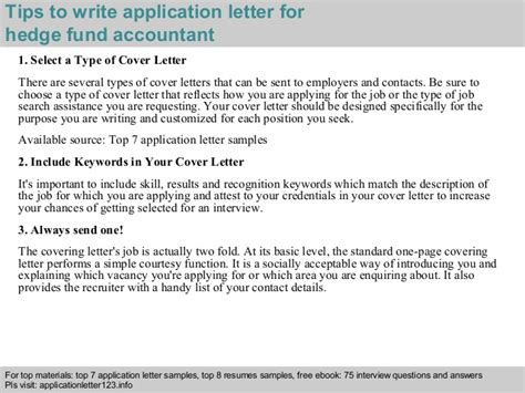 Fund Accountant Cover Letter by Hedge Fund Accountant Application Letter