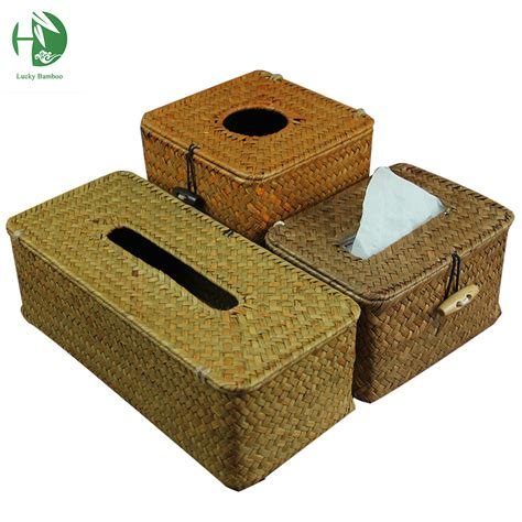 Handmade Tissue Holder - creative sea grass tissue box cover handmade straw paper