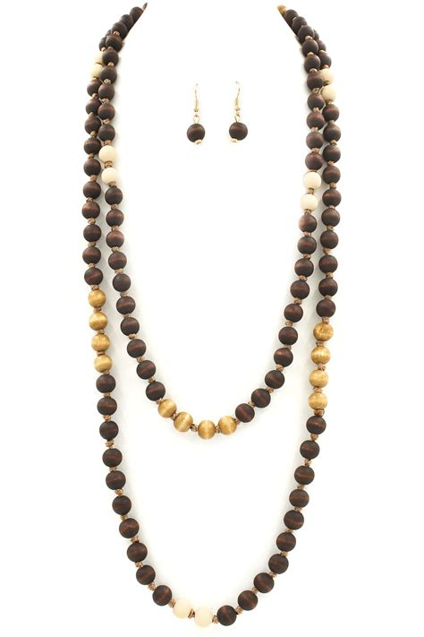 wooden beaded necklaces wood bead necklace set necklaces