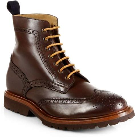 brunello cucinelli brogue wingtip boots in brown for