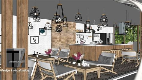sketchup  model modern coffe bar  octane render