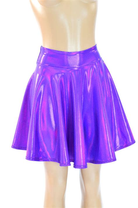 purple holographic metallic skater skirt  coquetry clothing