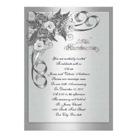 25th wedding anniversary vow renewal white roses 5x7 paper