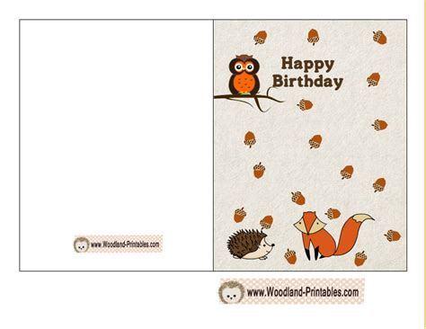 printable owl birthday card free printable woodland birthday cards