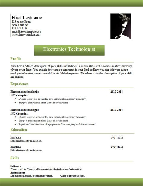 Curriculum Vitae Template Word by Template 961 To 967 Free Cv Template Dot Org