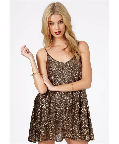 gold sequin swing dress missguided kira strappy sequin swing dress in antique gold
