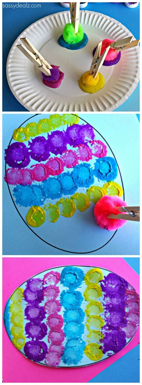 easter projects pom pom easter egg painting craft for kids for kids