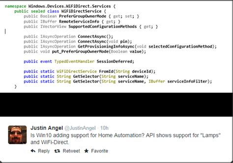 windows 10 to support home automation api shows ls