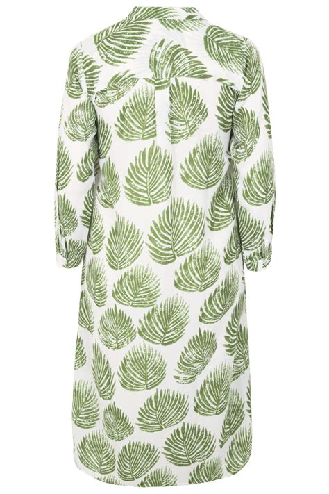 Leaf Maxi white green palm leaf print maxi shirt plus size 16 to 36