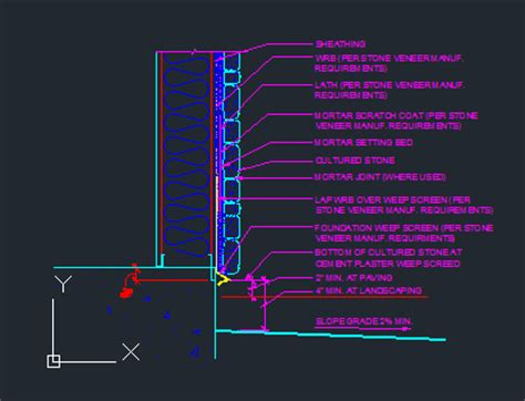 stone veneer wall section stone veneer wall section at sill cad files dwg files