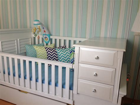 Crib With Storage Drawer Alp In Aqua Chevron Smurfs Project Nursery
