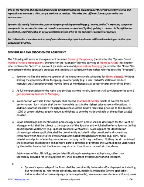 Sponsorship Letter Agreement Sponsorship Contract Template For Artists