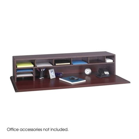 low profile desk l 58 quot w low profile desk top organizer in mahogany 3671mh