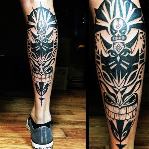 tribal totem pole tattoo designs 60 tribal leg tattoos for cool cultural design ideas