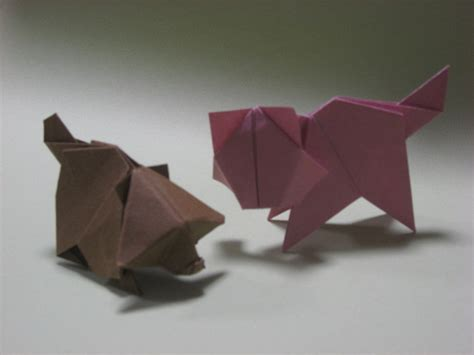 Origami Raccoon - origami cat and raccoon by h on deviantart
