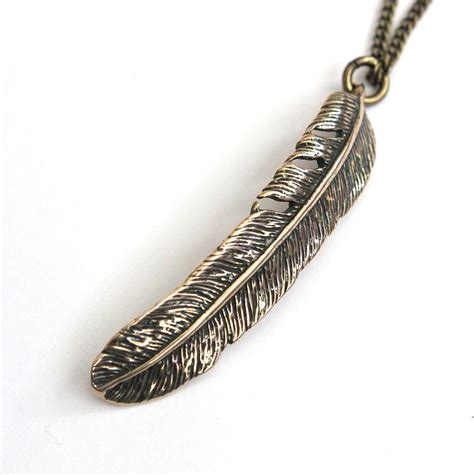 Feather Bronze Necklace feather pendant necklace in bronze sculpture