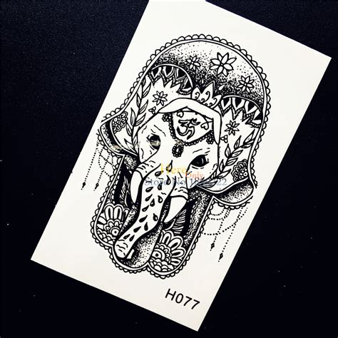 tattoo henna sticker hamsa hand elephant ganesha temporary tattoo sticker