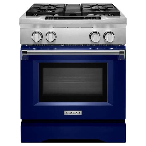 Oven Oxone 4 In 1 Kitchenaid 30 In 4 1 Cu Ft Dual Fuel Range With Convection Oven In Cobalt Blue Kdrs407vbu