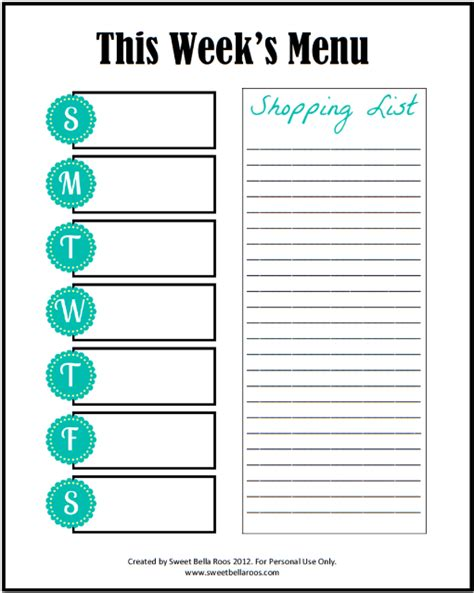menu planner with grocery list template weekly meal planner printable includes grocery list
