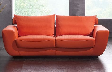 Leather Orange Sofa Orange Top Grain Leather Modern Sofa W Optional Chair Loveseat